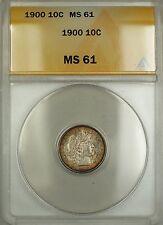 1900 Barber Silver Dime 10c ANACS MS-61 (Better Coin Choice BU)