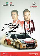 Mads OSTBERG & Jonas ANDERSSON WRC SIGNED AUTOGRAPH 12x8 CARD AFTAL COA
