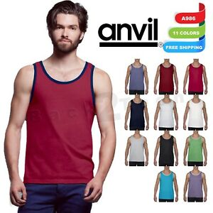 Anvil-Men-039-s-Ringspun-Cotton-Lightweight-gym-sport-Tank-Top-Shirt-A986