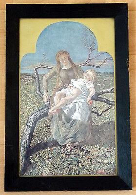 """Segantini """"die Frucht Der Liebe"""" (il Frutto Dell'amore). Druck Um 1900, Gerahmt BerüHmt FüR AusgewäHlte Materialien, Neuartige Designs, Herrliche Farben Und Exquisite Verarbeitung"""