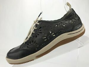 Jambu-Eco-Design-Shoes-Black-Leather-Lace-Up-Sneaker-Casual-Womens-Size-6-5-M-US