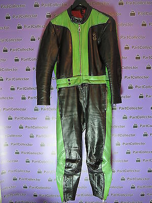 USED ECHTES VINTAGE LEATHER SUIT MOTORCYCLE BLACK GREEN MEN'S No. 48