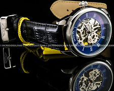 Invicta Men Specialty Vintage Mechanical Blue Dial Black Leather Strap Watch