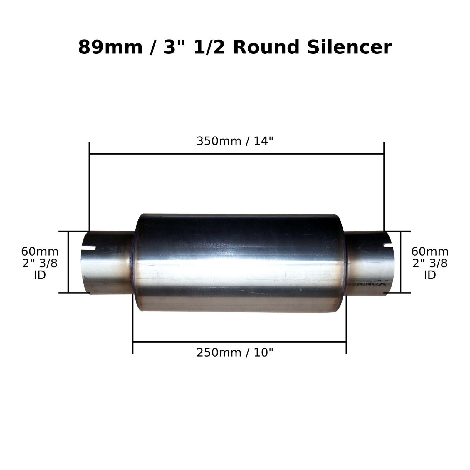 3.5 x 10 de abrazadera en Acero Inoxidable Silenciador Silenciador Silenciador De Escape Caja Cuerpo 2  3/8 (60mm) Bore 04c01b