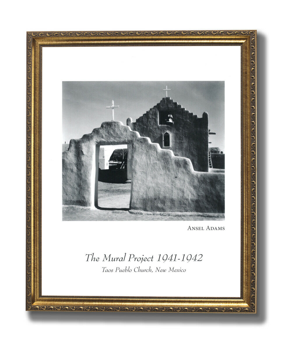 Ansel Adams Pueblo Church B W Photo Wall Picture Gold Framed Art Print