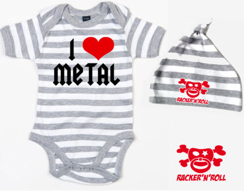 gorra set gris//blanco a rayas I love metal Body
