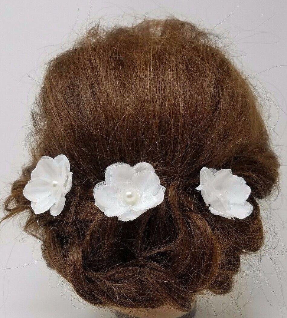 Wedding White Flower Hairpins, Bridal Hair Accessories, Hair Pins (3pcs)