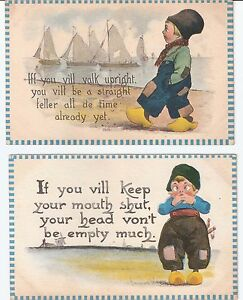 Antique Lot of 2 Dutch Boy Funny Artist Signed Bernhardt Wall Postcard Unused