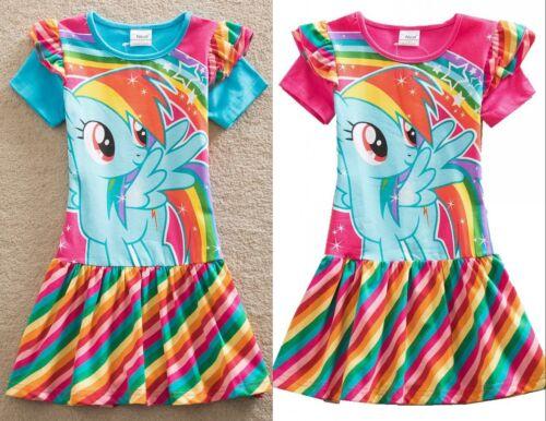 shirt dress S6218 height104-128cm Pony stripes rainbow printed Girl kid