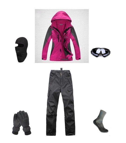 D35 Womannen Ski Snowboard Jasje Pants handschoenen Goggles Balaclava Socks 6 8 10 12 14