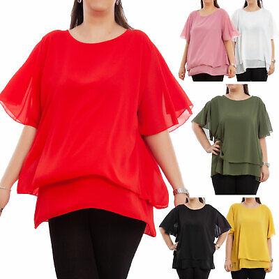 Blusa donna camicia camicetta manica lunga volant spalle