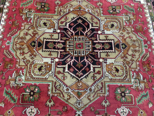 9'x12' New Hand knotted Wool rust & Black Super Heriz Serapi Oriental rug