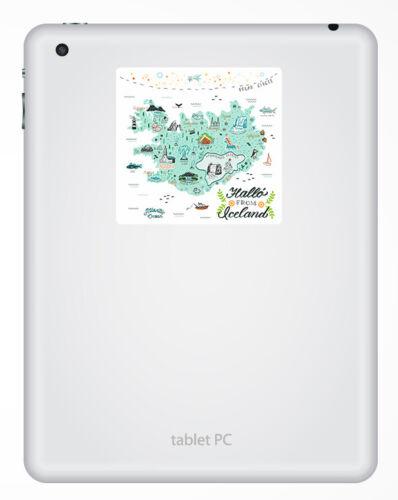 Cool Travel Sticker Laptop Luggage #17309 2 x 10cm Iceland Map Vinyl Stickers