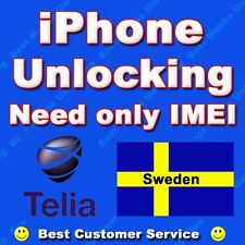 UNLOCK IPHONE 4 5 4S 3GS 5S 5C 6 6+  TELIA SWEDEN FACTORY UNLOCKING