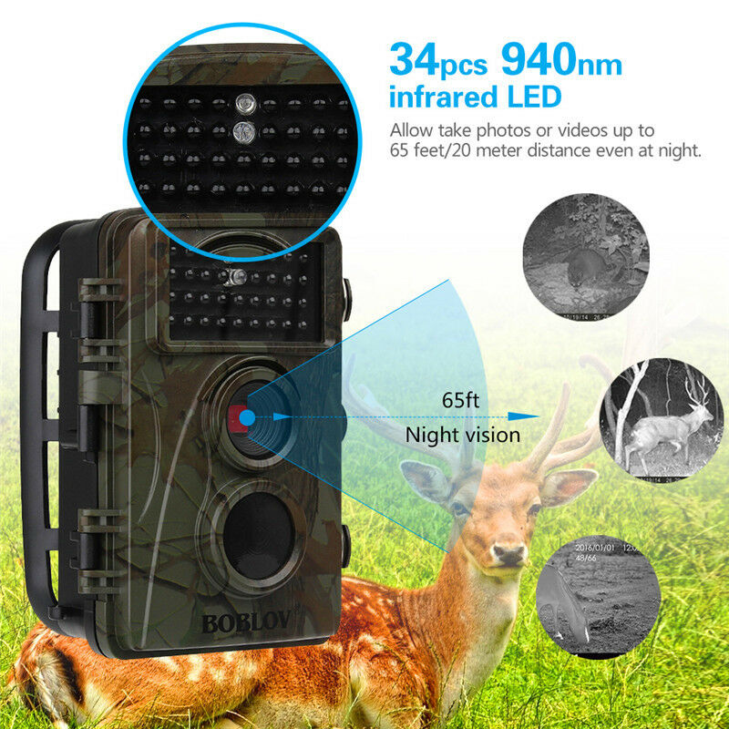 12mp 1080p juego Trail cámara vídeo Wildlife Long Range caza + bolsa impermeable