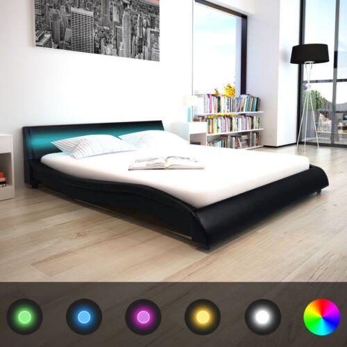 LED Polsterbett Ehebett Doppelbett Bettgestell Bettrahmen Kunstleder 160x200 cm