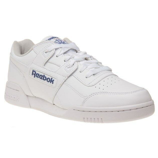 New Mens Reebok White Workout Plus Leather Trainers Court Lace Up
