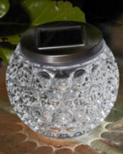 SOLAR POWERED GLOW GLASS CRYSTAL JAR GARDEN TABLE LED LIGHT DECORATION ORNAMENT