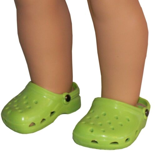 """Lime Krocs Water Clogs Sandals Beach Shoes fit 18/"""" American Girl Size Doll"""