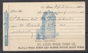 US-UX5-used-1882-Illustrated-Advertising-Card-St-Louis-Wood-Pump-Co