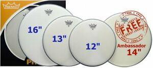 """Remo Coated Emperor ProPack - 12"""" 13"""" 16"""" Coated Heads / Skins + Free 14"""" Coated"""