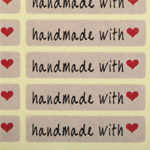 200pcs=10Sheet Paper Stickers Label Handmade with love Rectangle Seals Craft!#