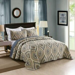 Queen Beige Modern Farmhouse Bed Acid Lightweight 3 Piece Quilt Set Bedspread Ebay