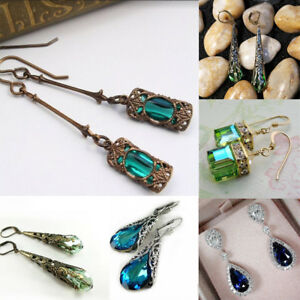 1-paire-Peridot-Naturel-Saphir-Bleu-Dangle-Boucles-D-039-oreilles-Bijoux-Vintage