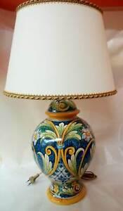 Lampadario Ceramica Di Caltagirone.Lume Lampada Da Tavolo Como H Cm 60 Decorato A Mano In Ceramica