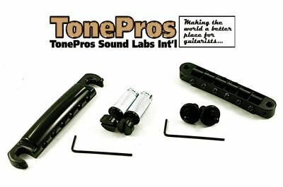TonePros Nashville Complete Bridge /& Tailpiece Set LPBS02-B Black Finish