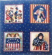 """Children's Patriotic Flag Fabric 4 Block Panel 6"""" quilt squares Crafting"""