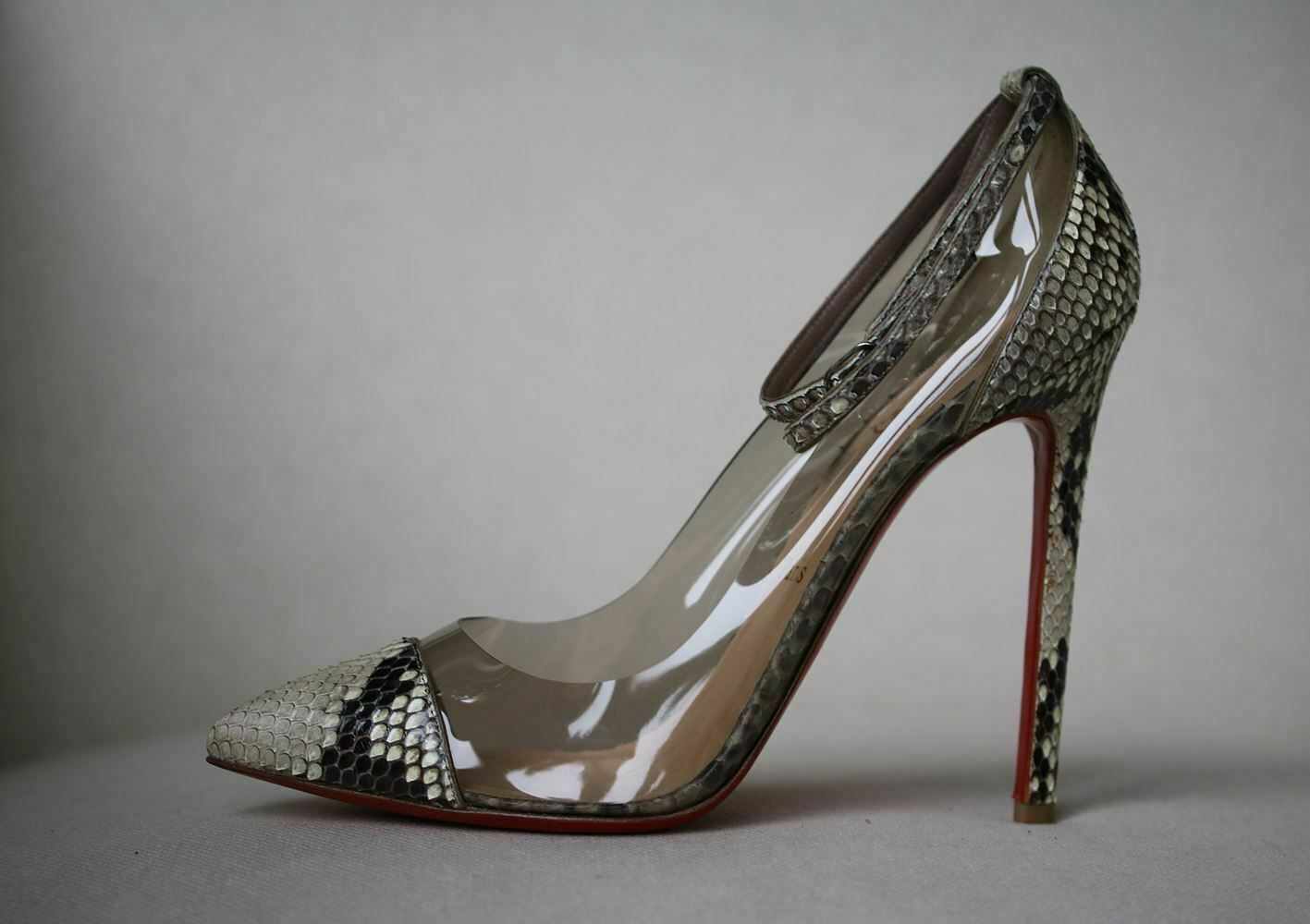 CHRISTIAN LOUBOUTIN UN BOUT 120 SNAKESKIN PUMPS EU 37.5 UK 4.5 US 7.5