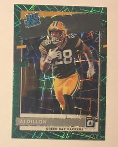 Optic Green Velocity Prizm AJ Dillon Rookie Card RC 2020 Donruss Football #174