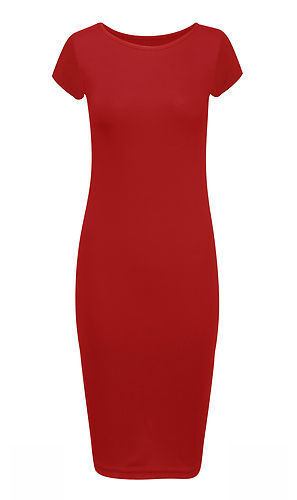 Womens Plus Size Cap Sleeve Long Midi Dress Short Sleeve Bodycon Jersery Midis