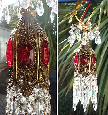 "1of4 Ruby jeweled Tulip filigree mini Crystal lamp Vintage chandelier brass 16"""