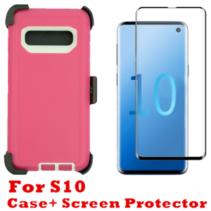 Details about For Samsung Galaxy S10 Case W/Screen & Clip Fits Otterbox  Defender pink white