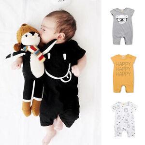 0b055ab555a4 Baby Boys Girls Cotton Romper Jumpsuit Newborn Kids Bodysuit Cute ...