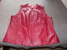 CASLON Dark Red Lamb Skin Leather Zip Up Vest 2X XXL Sleeveless