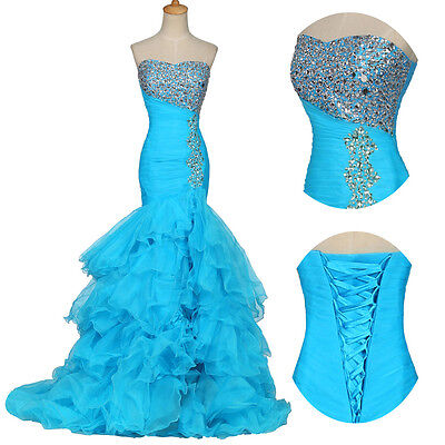 New long BLUE Mermaid Formal Prom Dress Party Ball Evening Pageant Wedding Gowns