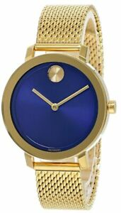 MOVADO Bold Stainless Steel Blue Dial Gold Mesh Women's Watch 3600671