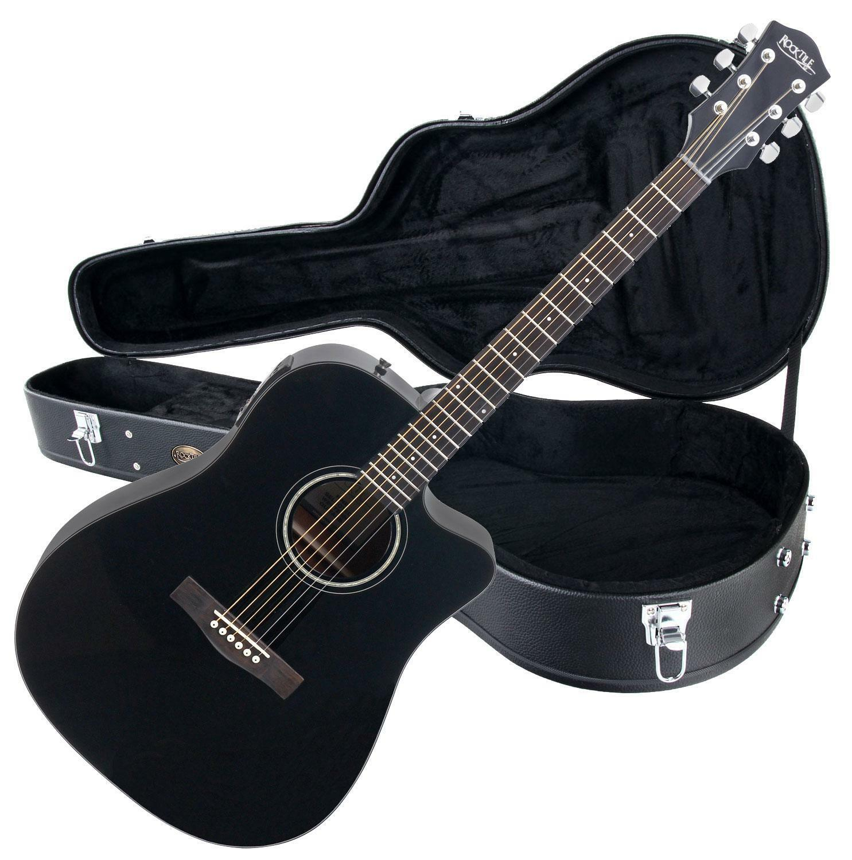 Akustikgitarre in Dreadnought-Bauweise mit eingbau. Tonabnehmer SET inkl. Koffer