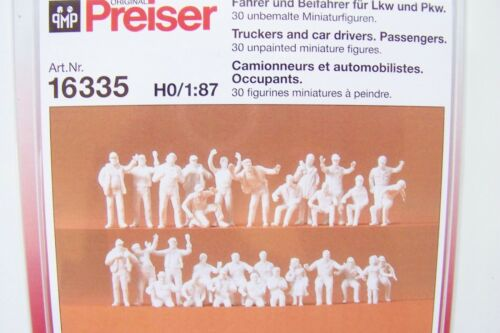Car Drivers /& Passenger Figures   # 16335 HO Preiser 30 UNPAINTED Truckers