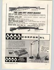1945 PAPER AD Toy Drill Rifle Helmet Wood Walnut Cork Garand Carbine Army Reject