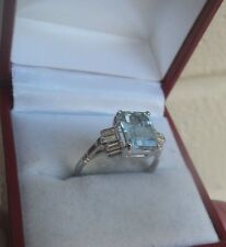 Superb Art Deco Style 18ct White Gold Aquamarine + Diamond Ring  -  size N / O