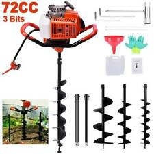 72cc Post Hole Digger Gas Powered Earth Auger Borer Fence Ground Drill 3 Bits