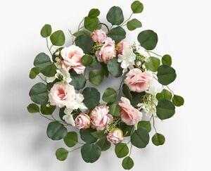 NEW-John-Lewis-Faux-Floral-Rose-Wedding-Wreath-50cm