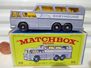 Lesney-Matchbox-RW66C-1967-GREYHOUND-BUS-with-BLACK-BASE-New-Mint-in-Nr-Mint-Box