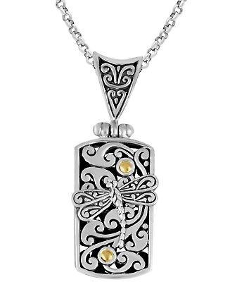 Details about  /Devata Bali Dragonfly Filigree Sterling Silver 925 18K Gold Necklace SFR8653TT