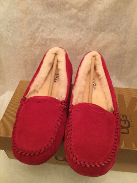 UGG Australia Scalloped Moccasin Red/Wine Women's Slippers Size 7 New with Box