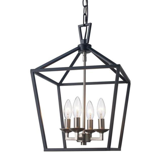 Bel Air Lighting Lacey 4 Light Black And Brushed Nickel Pendant